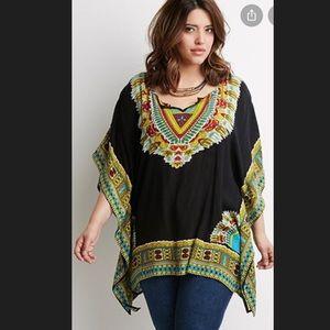 Tribal print plus size black tunic top